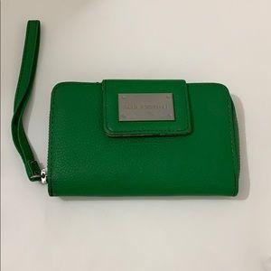 Dana Buchman pebble leather green wallet